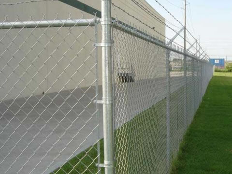Chain link fences are installed surrounding the factory.