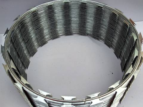 A coil of big sharp stainless steel razor barbed wire on the floor.