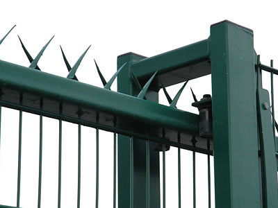 Wall spikes are installed at the top of welded wire mesh security fence.